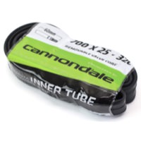 Cannondale 700c x 25 - 32c w/ 60mm Presta - Black Smooth w/ Removable Core Valve Bicycle Inner Tube Single