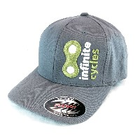 Infinite Cycles 2014 Logo Cap, Flex Fit, Curved Bill, L/XL, Gray