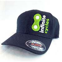 Infinite Cycles 2014 Logo Cap, Flex Fit, Curved Bill, L/XL, Black