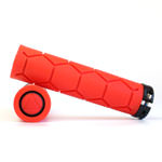 Fabric Silicone Lock On Bike Grips - Red