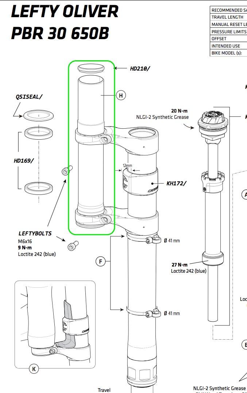 Cannondale Lefty Oliver Slate Steerer For 134mm Head Tube